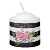 Flowers and Stripes Wedding Candle Favor