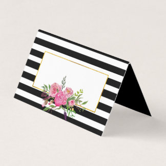 Flowers and Stripes Wedding Folded Place Card
