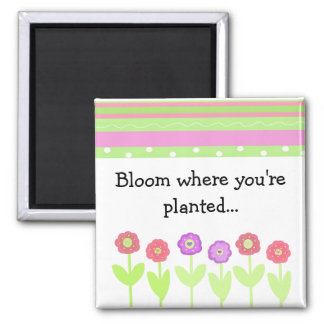 Flowers and Stripes with Saying Magnet