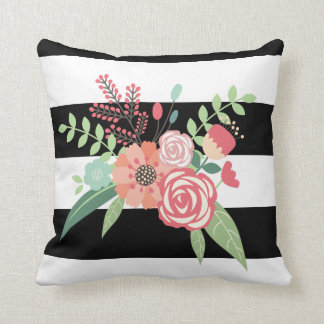 Flowers and strips pillow