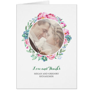 flowers and succulents watercolor thanks photo card