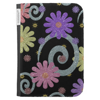 Flowers and Swirls on Black Kindle Case
