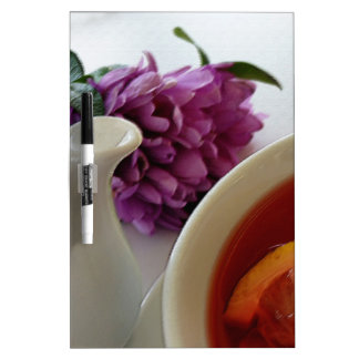 flowers and tea dry erase board