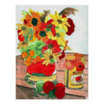Flowers and Tomatoes Poster Print