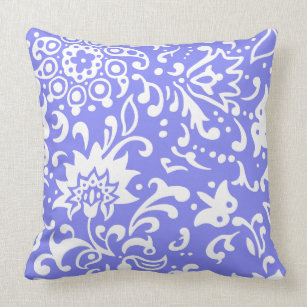 Flowers And Vines Pattern On Periwinkle Color Throw Pillow