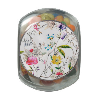 Flowers and Vines Textile Print Jelly Belly Candy Jar