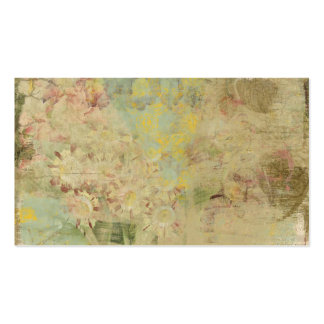 flowers and vintage newspaper collage business card templates