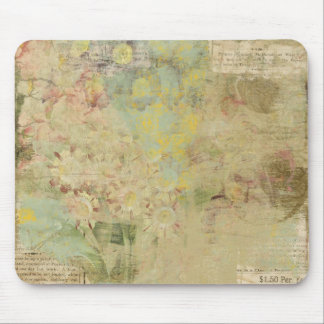 flowers and vintage newspaper collage mouse pad