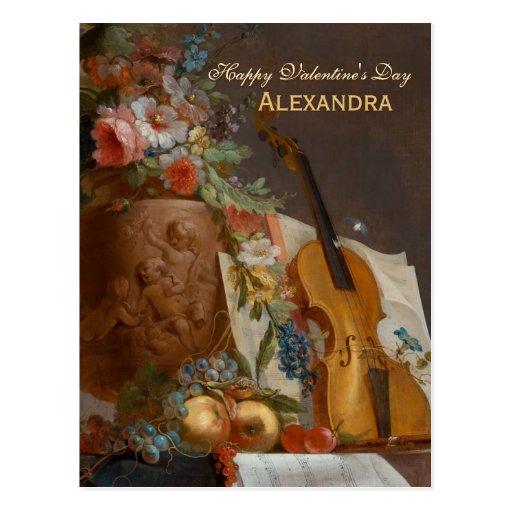 Flowers and violin CC0641 Valentine Postcard