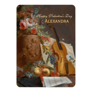 Flowers and violin CC0643  Valentine Greeting Card