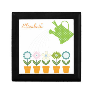 Flowers and Watering Can Gardening Fun Jewelry Box