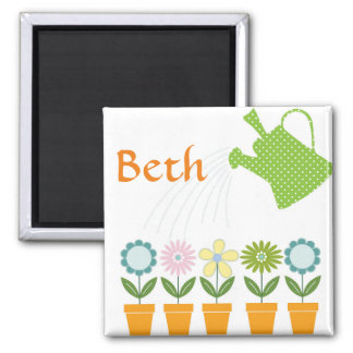 Flowers and Watering Can Gardening Fun Magnet
