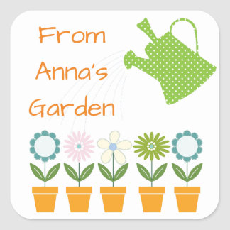 Flowers and Watering Can Gardening Fun Square Sticker