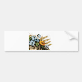 flowers and wheat bumper sticker