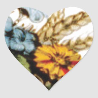 flowers and wheat heart sticker