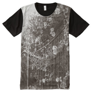 Flowers and Wrought Iron Fence, Tilt-Shift, B&W All-Over Print T-shirt