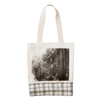 Flowers and Wrought Iron Fence, Tilt-Shift, B&W Zazzle HEART Tote Bag