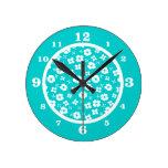 Flowers- Aqua Clock
