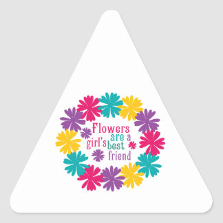 Flowers Are A Girl's Best Friend Triangle Stickers