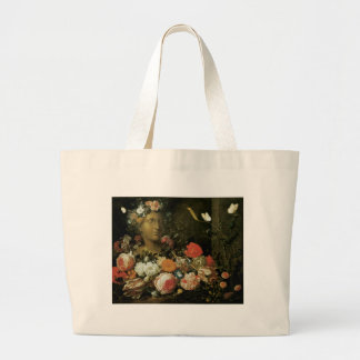 Flowers Around a Classical Bust Tote Bag