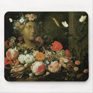 Flowers Around a Classical Bust Mouse Pad