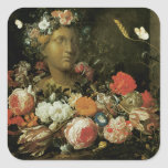 Flowers Around a Classical Bust Square Sticker