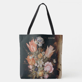 Flowers art custom monogram bags