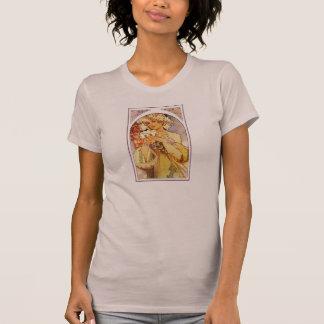 Flowers, Art Nouveau Alphonse Alfons Mucha T-Shirt