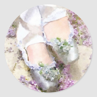 Flowers at her Feet Classic Round Sticker