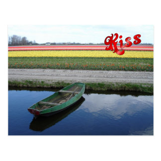 Flowers at  Keukenhof, canal and boat Postcard