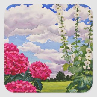 Flowers at the edge of a meadow 2008 square sticker