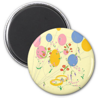 flowers baloons and wedding bands 2 inch round magnet