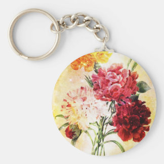 Flowers Basic Round Button Keychain