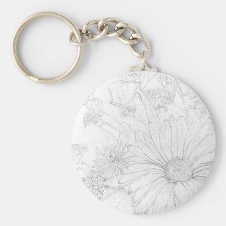Flowers Basic Round Button Keychain