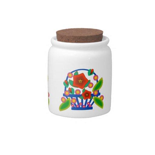 Flowers Basket Candy Jar