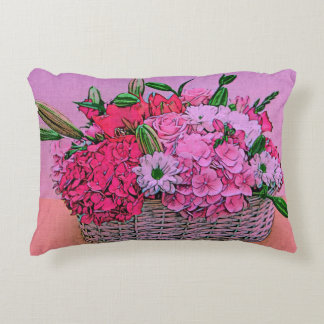 Flowers basket painting accent pillow