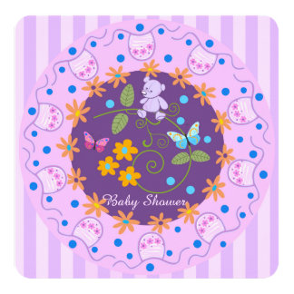 Flowers, bear and bibs custom Baby Girl invitation