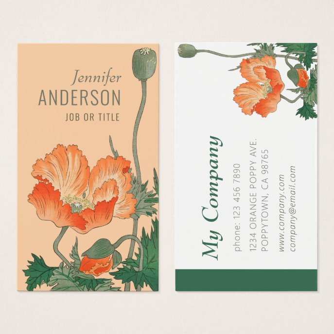 Flowers Beauty Japanese poppy CC0483 Business card