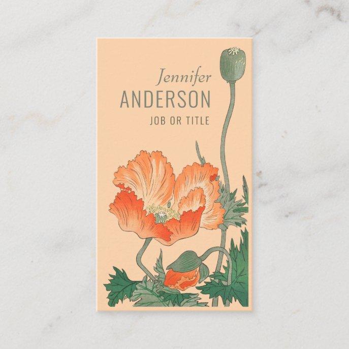 Flowers Beauty Orange poppy CC0697 Ohara Koson Business Card