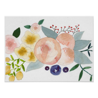Flowers, Berries, and Leaves Watercolor Poster