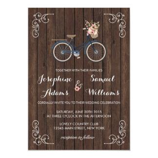 Flowers Bicycle Wood Wedding Invitation