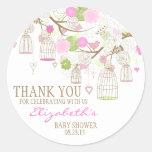 Flowers & Birdcages Thank You Baby Shower Sticker Round Sticker