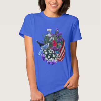 flowers, birds and flag 2r T-Shirt