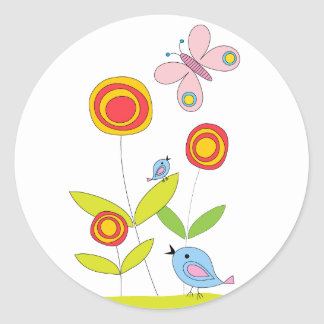Flowers, birds, buterflies drawing classic round sticker