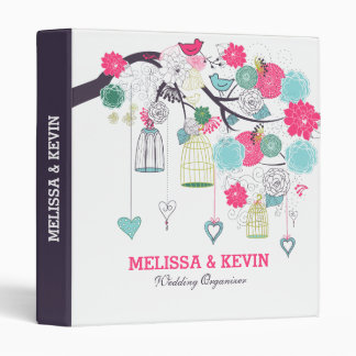 Flowers, Birds Cages And Hearts Wedding Design 3 Ring Binder