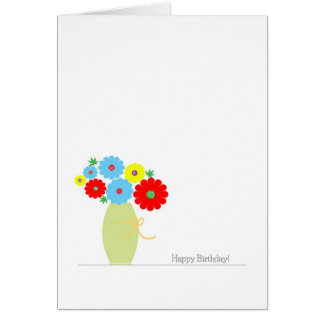 Flowers Birthday Cards, Colorful Flowers In A Vase Greeting Card