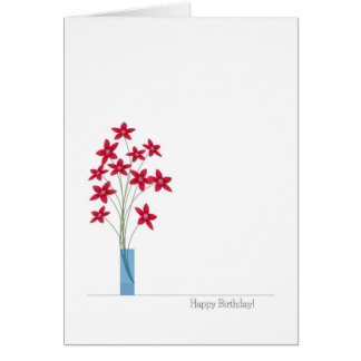 Flowers Birthday Cards, Cute Colorful Red Flowers Greeting Card