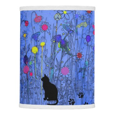 Halloween Themed Flowers-Black-Cats-Blue-Shades-Lamps Lamp Shade