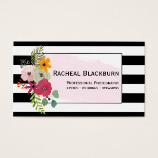 Flowers Black Striped Watercolor Photography Business Card
