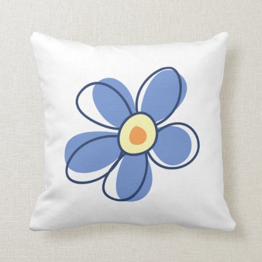Flowers, Blossoms, Blooms, Petals - Blue Yellow Throw Pillows